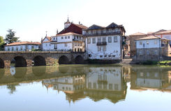 Roman bridge of Chaves over river Tamega, Portugal royalty free stock image