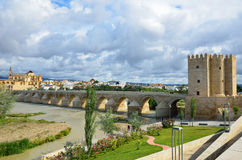 Roman bridge of Cordoba. Roman bridge is over the Guadalquivir river in Cordova. It was built by the Romans in the early 1st century BC and restored several royalty free stock photos