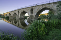 Roman bridge at dawn Stock Photos