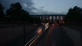 Roman bridge day to night time lapse. In Istanbul, Turkey stock video
