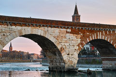 Roman bridge detail in Italian city Royalty Free Stock Image