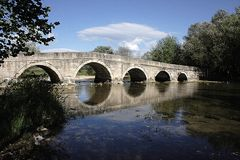 Roman Bridge em Sarajevo Foto de Stock