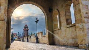 Roman Bridge et lever de soleil dans moring Photos libres de droits