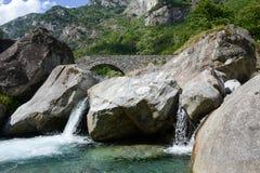The roman bridge of Fontana on Maggia valley Stock Image