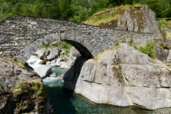 The roman bridge of Fontana on Maggia valley Royalty Free Stock Image