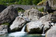 The roman bridge of Fontana on Maggia valley Royalty Free Stock Images