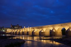 Roman Bridge on Guadalquivir River in Cordoba stock image
