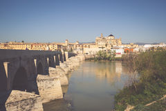 Roman Bridge and Guadalquivir river, Great Mosque, Cordoba, Spai Royalty Free Stock Images