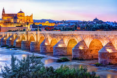 Roman Bridge and Guadalquivir river. Great Mosque, Cordoba, Spain royalty free stock image