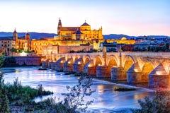 Roman Bridge and Guadalquivir river. Great Mosque, Cordoba, Spain stock photos