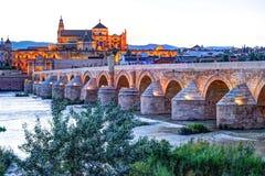 Roman Bridge and Guadalquivir river. Great Mosque, Cordoba, Spain royalty free stock photo