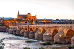 Roman Bridge and Guadalquivir river. Great Mosque, Cordoba, Spain stock images