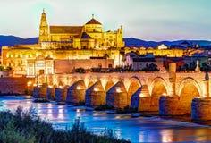 Roman Bridge and Guadalquivir river. Great Mosque, Cordoba, Spain royalty free stock images