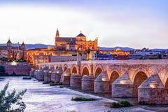 Roman Bridge and Guadalquivir river. Great Mosque, Cordoba, Spain stock photo