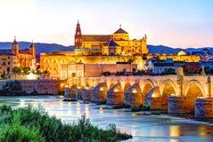Roman Bridge and Guadalquivir river. Great Mosque, Cordoba, Spain stock image