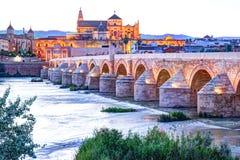 Roman Bridge and Guadalquivir river. Great Mosque, Cordoba, Spain royalty free stock photography