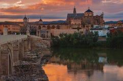 Roman bridge and La Mezquita at sunset in Cordoba Royalty Free Stock Photography