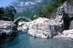 The roman bridge on Maggia valley Stock Photo