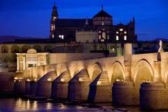 Roman Bridge and Mezquita in Cordoba at Dawn Royalty Free Stock Image