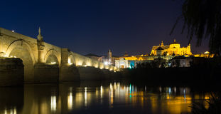 Roman bridge and  Mosque-cathedral of Cordoba Stock Photo