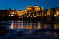Roman bridge and Mosque-Cathedral in Cordoba Stock Image