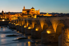 Roman bridge and Mosque-Cathedral in Cordoba Royalty Free Stock Photography