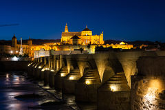 Roman bridge and Mosque-Cathedral in Cordoba Stock Images