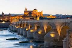 Roman bridge and Mosque-Cathedral in Cordoba Stock Photography