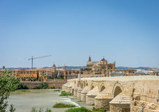 The roman bridge and the Mosque Church of Cordoba across the Guadalquivir river, SPain, Europe, Andalucia stock images