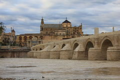 Roman Bridge and Mosque of Cordoba Stock Photo