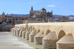 Roman Bridge and Mosque of Cordoba Stock Photos