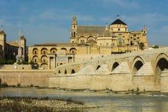 Roman bridge and mosque of cordoba. Landscape of the mosque of Cordoba, the roman bridge and the Guadalquivir river stock photos
