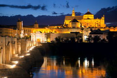 Roman Bridge and Mosque (Mezquita)  at evening, Spain, Europe Stock Image