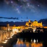 Roman Bridge and Mosque (Mezquita)  at night, Spain, Europe Stock Photos
