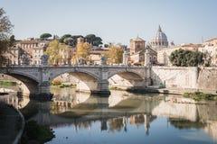 Roman bridge over the Fiume Tevere in Rome. Italy stock photos
