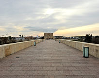 Roman bridge over the Guadalquivir river and the Tower of Calahorra in the background, Cordoba, Spain. The old Roman bridge over the river Guadalquivir in stock images