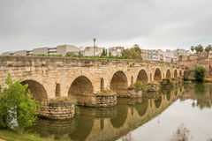 Roman Bridge over the Guadiana River. It was the first building erected in the Roman city of Emerita Augusta to protect the colony strategically from possible Stock Photo