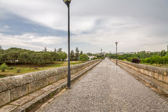 Roman Bridge over the Guadiana River. It was the first building erected in the Roman city of Emerita Augusta to protect the colony strategically from possible Royalty Free Stock Photos