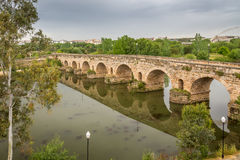 Roman Bridge over the Guadiana River stock photos