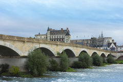 Roman bridge over Loire river and Chateau de Amboise, France Stock Images