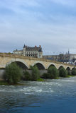 Roman bridge over Loire river and Chateau de Amboise, France Royalty Free Stock Photos