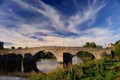 Roman bridge over the river Tormes in Avila Royalty Free Stock Image