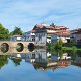 Roman Bridge over Tamega River in Chaves, Portugal royalty free stock image