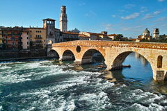 Roman bridge Ponte Pietra in Verona Stock Photos