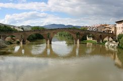 Roman bridge of Puente la Reina, Spain. Puente la Reina in the spanish province of Navarra lies between Pamplona and Estella on the Way of St. James, a royalty free stock image
