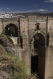 Roman bridge Puente Nuevo in Ronda. The 18th century Puente Nuevo 'new' bridge which spans towering 120 metres above the canyon floor. It is one of the Ronda's royalty free stock photo