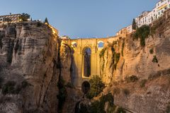 Roman Bridge Puente Nuevo Ronda, Espagne Photo stock