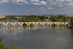 Roman bridge in river Duero, Castilla y Leon, Zamora,. Spain stock photos