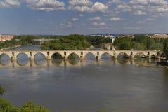 Roman bridge in river Duero, Castilla y Leon, Zamora, Stock Photos
