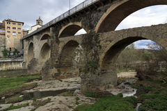 Roman bridge in Roda de Ter Stock Image